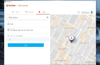 Location tracking by McAfee Safe Family