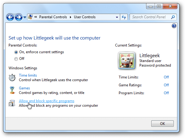 Windows parental control settings