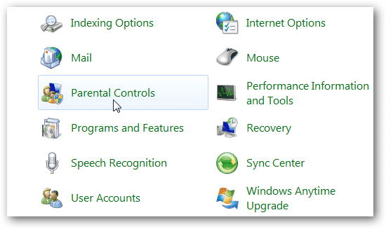 windows parental control panel